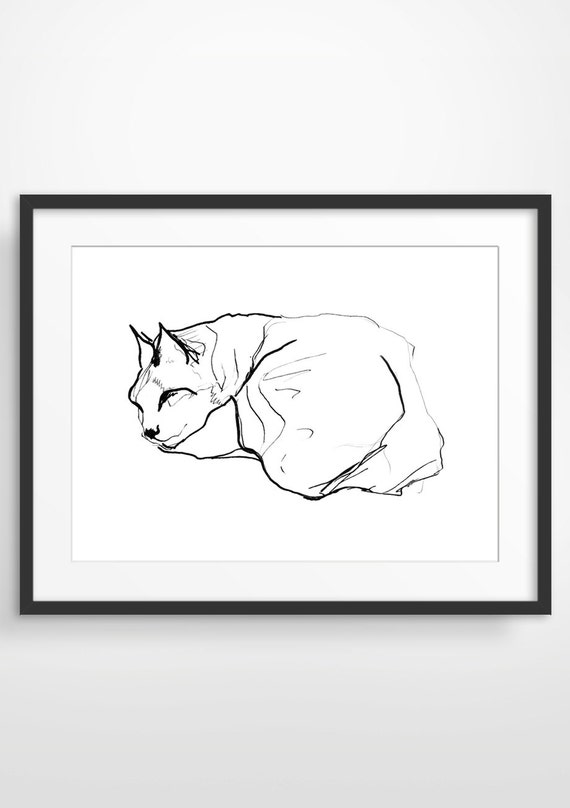 Sleeping Cat Art Print, Nursery Decor, Bedroom Decor, Animal Art, Gift for Cat Lover, Pen and Ink Drawing, Giclee Print