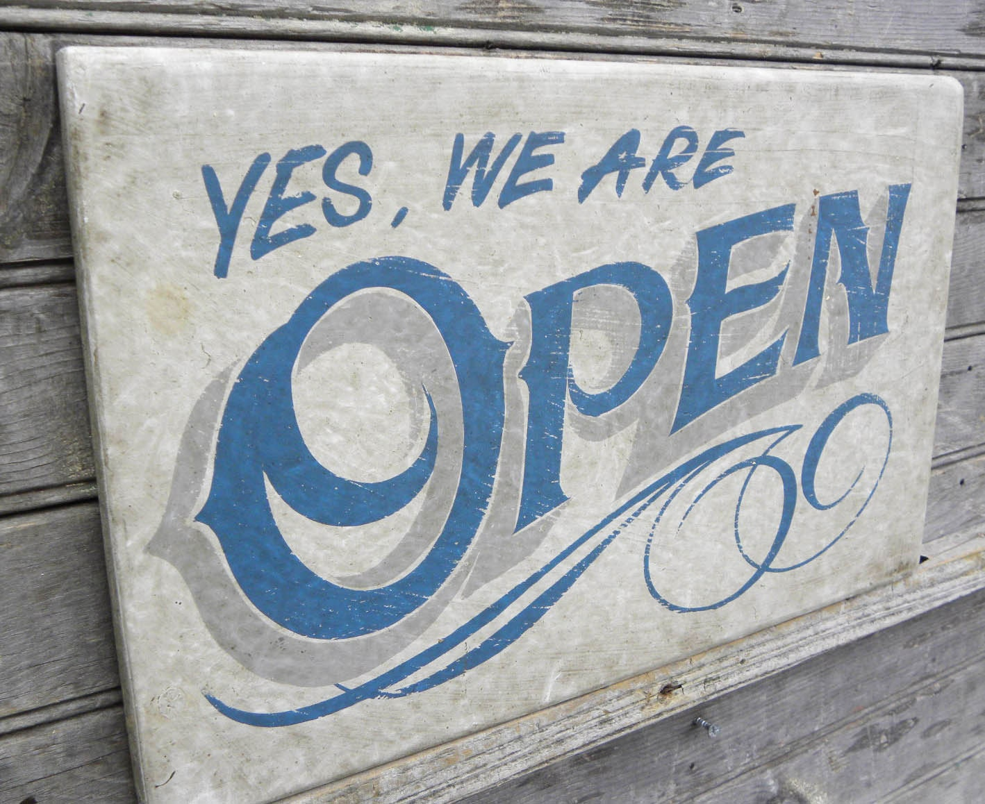 Open Sign hand painted faux vintage wooden sign