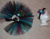 Premie-Newborn Peacock Tutu Set