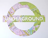 MIND THE GAP // London Underground // Vintage Tube Map // Hand Made original art piece