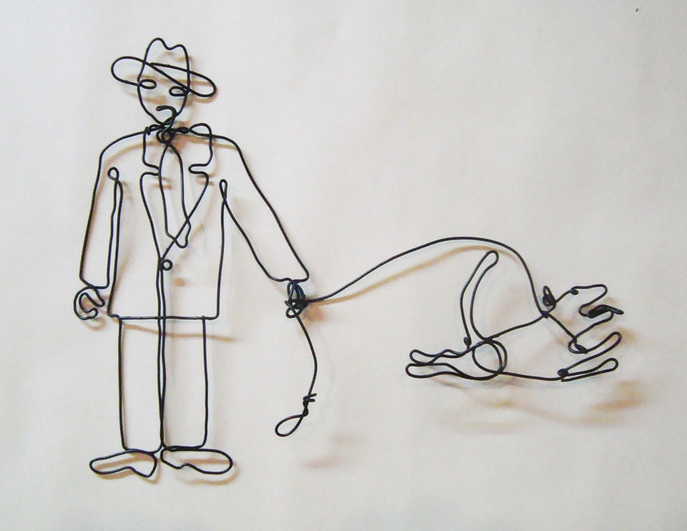 Grumpy man happy dog wire sculpture for Dog wire art