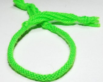 Childrens Neon Bracelet Kumihimo Florescent Green Cotton Fiber Kids Jewelry