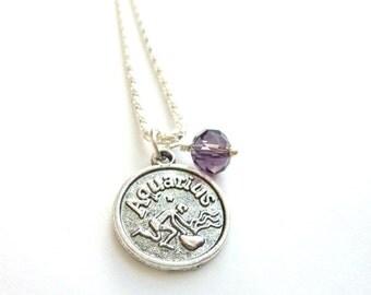 AQUARIUS Necklace February birthstone Zodiac jewelry Amethyst Purple crystal silver chain