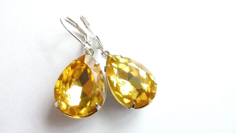 Yellow Topaz Earrings Golden Yellow Earrings Teardrop Drop