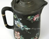 Staffordshire Jug Pitcher Handpainted Pewter Lid Sgraffito Floral 1870s England