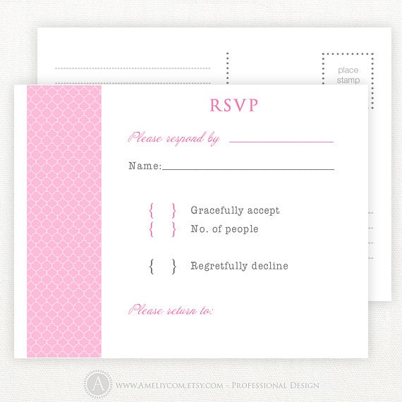 Items similar to pink printable rsvp card wedding rsvp postcards blank reply card response for Printable rsvp card