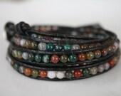 Semi Precious Agate Stone Wrap Bracelet on Black Leather, Black Leather Wrap Bracelet