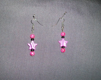 Pink and Black star earrings.