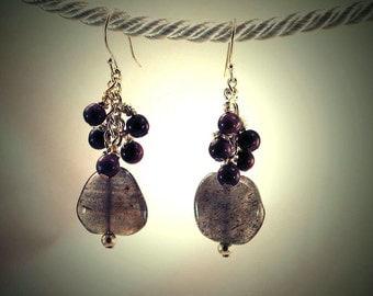 Lake Superior Summer Berries Labradorite and Ruby Earrings