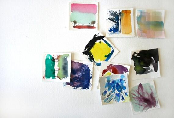 10 Small Abstract Paintings- Bright Abstract Watercolor Set- Artist's Choice Grab Bag