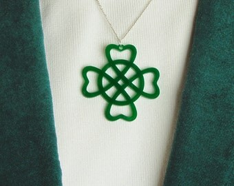 5 Green Shamrock Celtic Pendants for Necklaces Green Acrylic Shamrocks with Gift Box