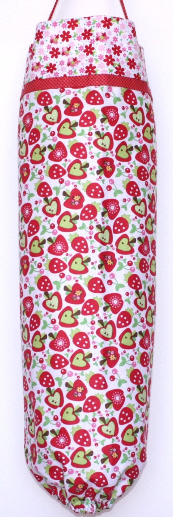 Grocery Bag Holder - Plastic Bag Dispenser Sleeve - Riley Blake Tossed Fruit Hoo's in the Forest