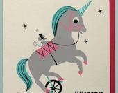 Unicycling Unicorn Card