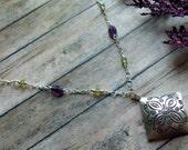 Fine Silver Amethyst Peridot Necklace - 934