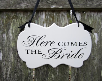 Here Comes the Bride - Painted Wooden Cottage Chic Wedding Sign - Flower Girl Sign - Ring Bearer Sign - Ring Bearer Pillow Alternative