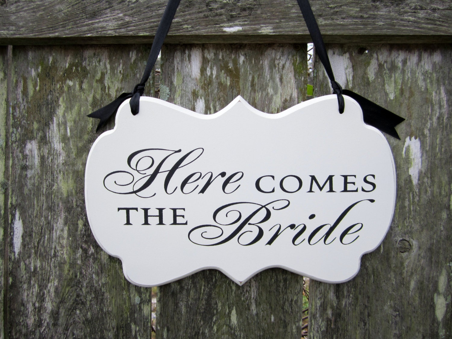 here comes the wedding sign painted wooden by