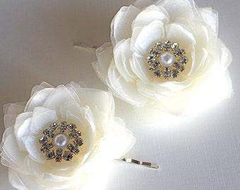 2 Set of ivory bridal hair flower/ivory wedding hair flower/wedding hair accessories