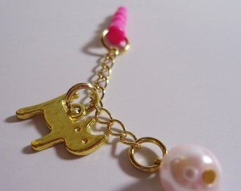 Kawaii Cat chain Earphone plug. Handmade