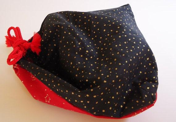 Upcycled Xmas Handmade Draw String Bag