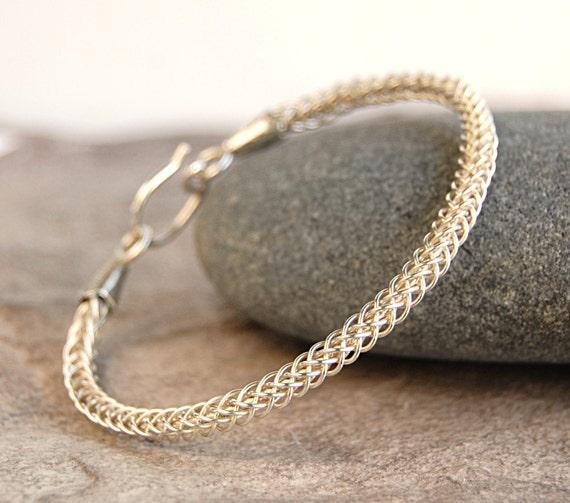 Sterling Silver Braided Bracelet - Woven Wire Silver Bangle Bracelet