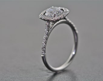 14kt White Gold and Diamond Engagement Ring With 1.00 Carat White Sapphire Center