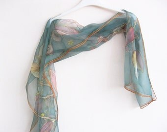 Silk scarf hand painted Women gift Emerald green - made TO ORDER
