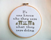 Stonehenge inspired cross stitch -- No one knows who they were or what they were doing Spinal Tap