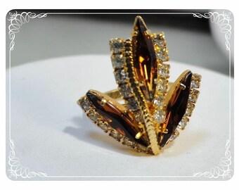 Vintage Rhinestone Costume Dinner Ring - Three Amber Leaves   -   R1776a-121012000