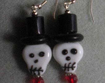 Day of the Dead  Lampwork Skull Earrings