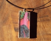 Wear Your Veggies Swiss Chard Recycled Stained Glass Necklace