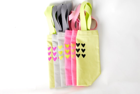 "Carry ""Small"" Tote Avocado Green with Neon Pink Painted Hearts Valentine's Day Bag"