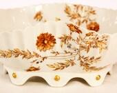 Antique Haviland & Co. Limoges Large Footed Salad Bowl: Brown Flower Pattern 1876-1889