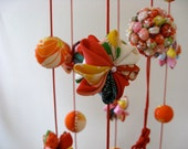 Resarved For S,SALE ,20%off,  Mobile Ornament, Japanese Traditional Dolls, Special Decoration Set,  Vintage Kimono fabric, Orange and Red,