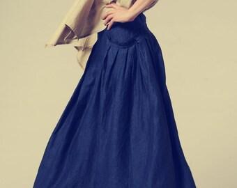 Long Linen Skirt in Dark Blue / Ruffle Skirt / Maxi Skirt  -Custom