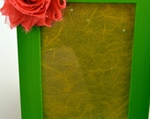 Embellished Picture Frame - Lime Green with Yellow and Pink Flowers