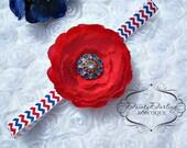 4th of July Headband - Baby Girl Headband - Patriotic Chevron Headband - Toddler Headband - Red white and blue headband - memorial day