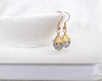 Rhinestone, White Swarovski Crystal Earrings, Wedding Earring,Gold  earrings