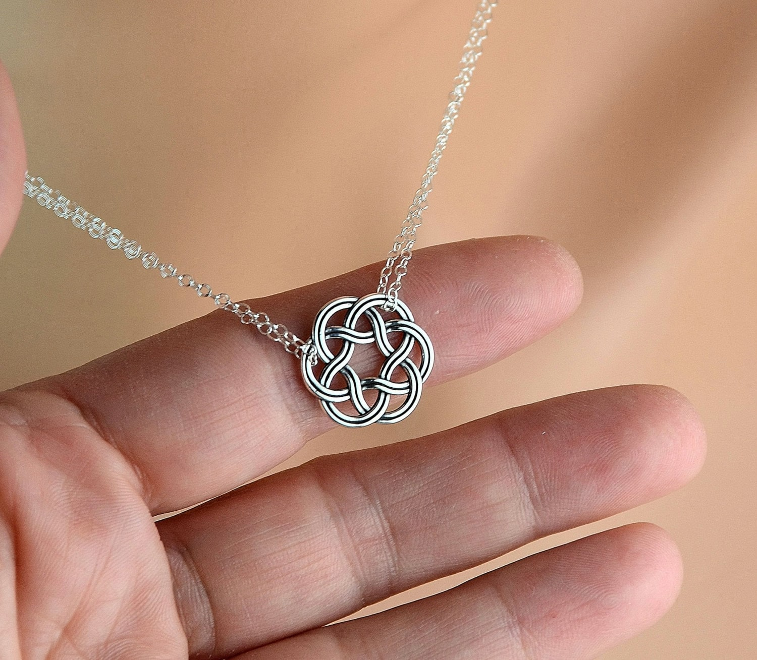 All Sterling Celtic Double Chain Necklace Celtic Jewelry