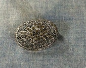 Sterling  Filigree Forget-Me-Not Marcasite Brooch Floral Intricate  Oval Design Marked Sterling , Holiday Sparkle Gift for Mom Gift for Her