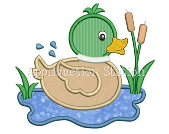 Mallard Duck Applique Machine Embroidery Design baby rubber ducky INSTANT DOWNLOAD