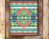 SouthWest Indian Blanket Native American Vintage Print Rustic Americana antique aztec navajo poster home decor wall art graphic design 8x10