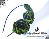 Mossy Green Flower on Black Metal Headband. Special Ocassion Green Flower Headpiece.Hair Flower for Bridesmaids/Bride