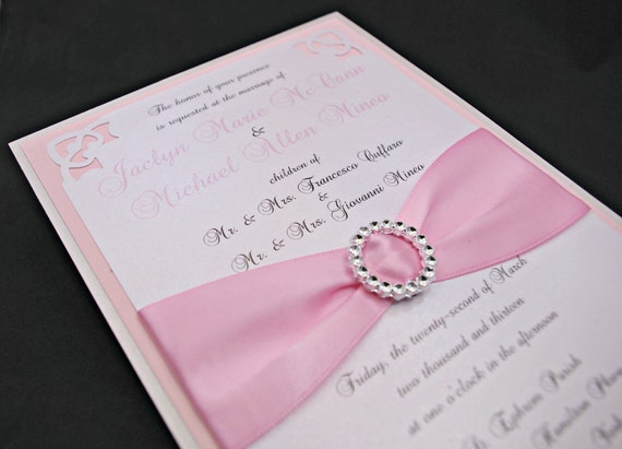 Silver Wedding Invitations: Items Similar To Shimmering Pink & Silver Wedding