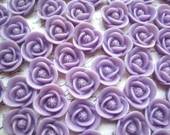 Resin Flower Cabochon / 6 pcs Purple Resin Rose Cabochon / 17mm