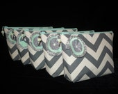 Custom Bridesmaids Set of 5 Chevron Makeup, Cosmetic Bags, Pouches. You pick the colors.