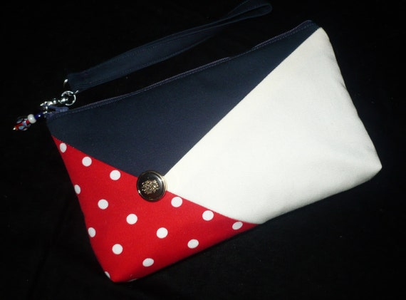 Red/White/Blue Colorblock Bag/Wristlet/Clutch/Purse Handmade