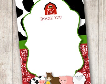Barnyard 1 Thank You Card - Digital File (Print Your Own) - INSTANT DOWNLOAD