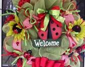 Green and Red Mesh Ladybug Wreath