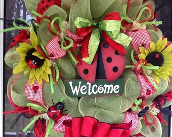 Green and Red Mesh Ladybug Wreath
