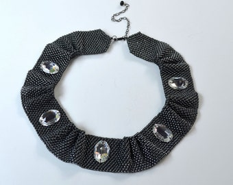 Silver iris seed bead collar necklace with Swarovski large oval crystals
